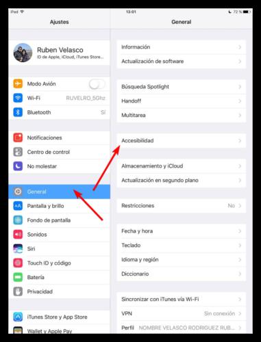 iOS - Opciones generales y de accesibilidad