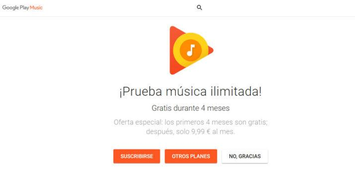 Oferta Google Play Music