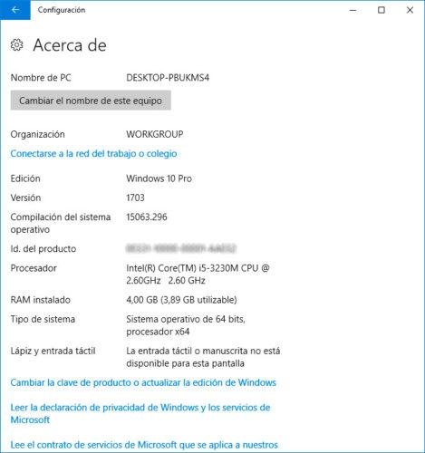 versión o build de Windows 10