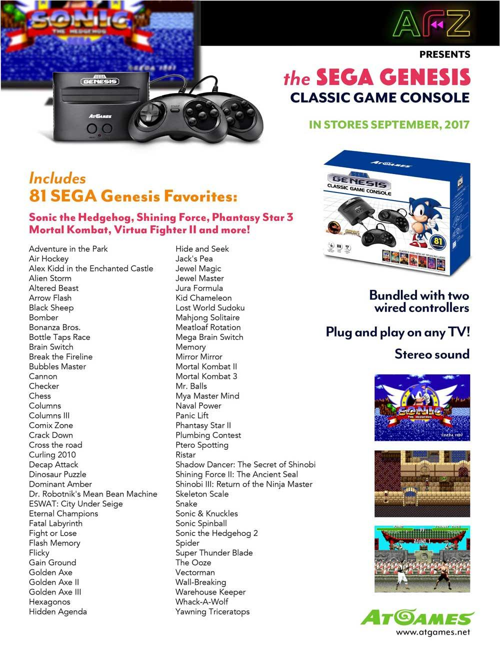 Resucitan la sega genesis mega drive y la atari 2600 en - Atgames sega genesis classic game console game list ...
