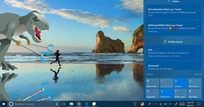 windows 10 fall creators update centro de actividades