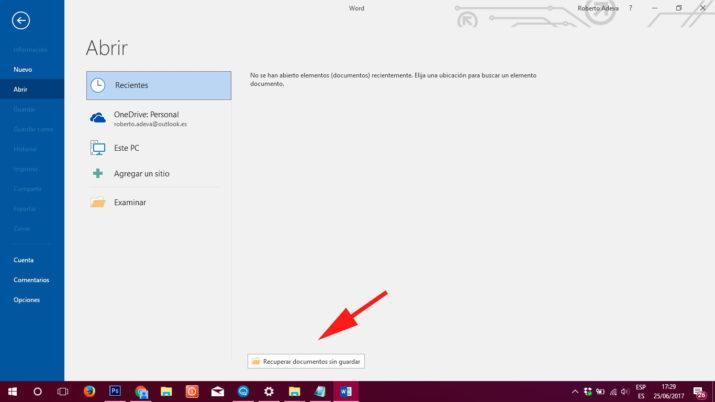 trucos de Word recuperar archivos sin guardar