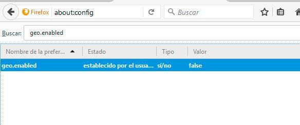 ubicación Firefox