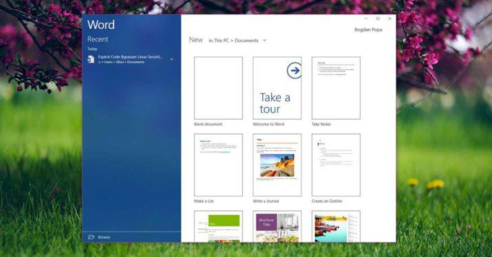 fluent design office word windows 10