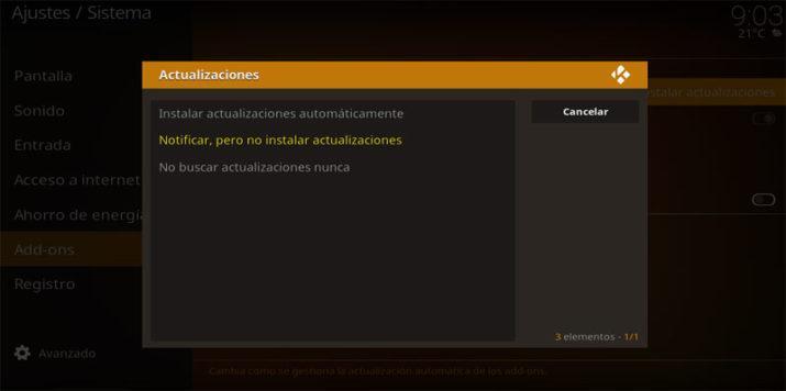 Kodi actualizaciones