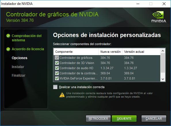 nvidia drivers instalacion personalizada