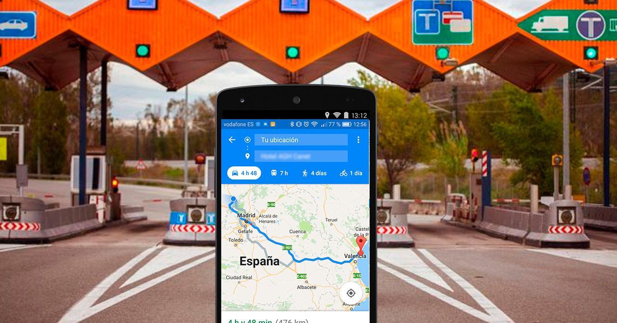 evitar peajes en Google Maps