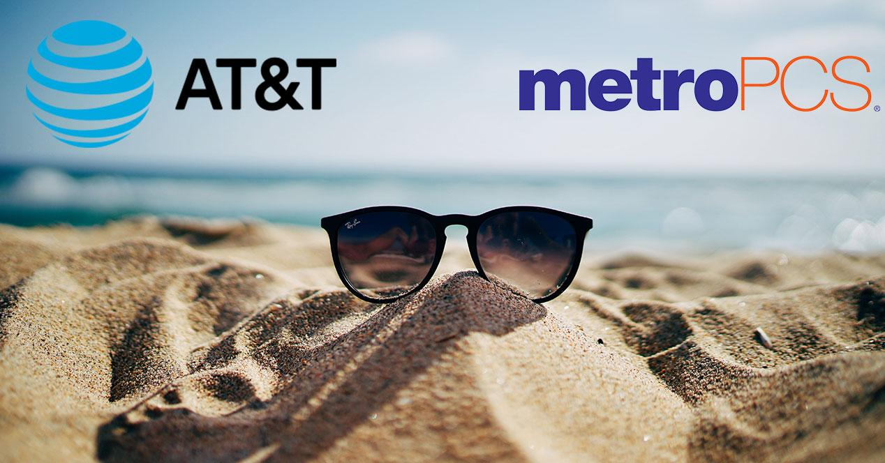 logos de at&T y metropcs con playa y gafas