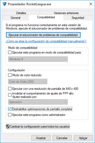 Deshabilitar optimizaciones de pantalla completa