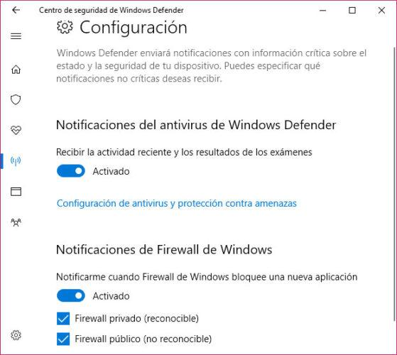 notificaciones de Windows Defender