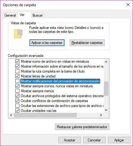 notificaciones explorador de archivos