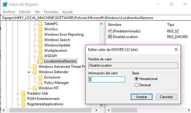 servicio ubicación en Windows 10