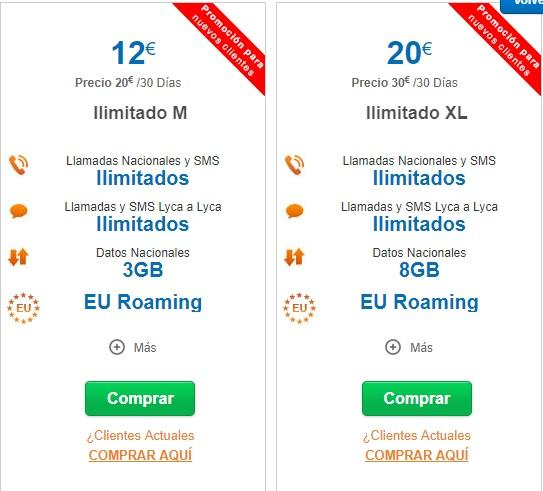Tarifas M y XL Roaming lycamobile