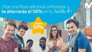 Movistar te descuenta un 50% si traes una segunda línea a Fusión o Tarifa Contrato #