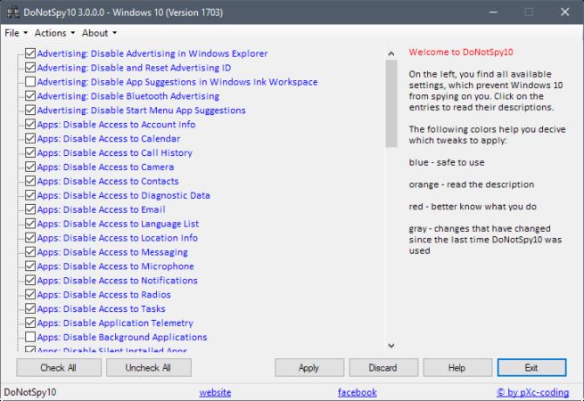 mejorar la privacidad en Windows 10 Fall Creators Update