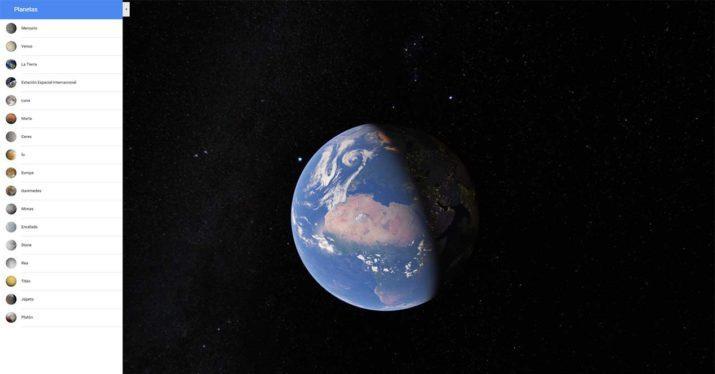 google maps espacio planetas satelites