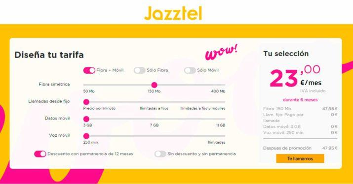 nueva oferta configurable de Jazztel