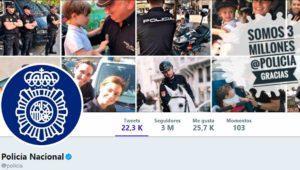 La Policía Nacional supera los 3 millones de seguidores en Twitter