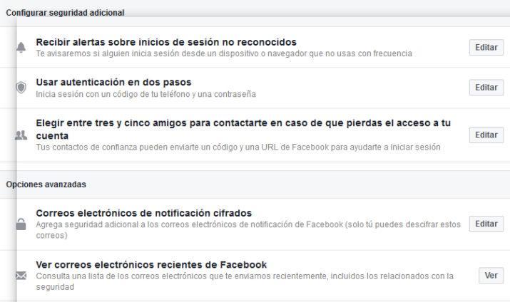Seguridad Facebook