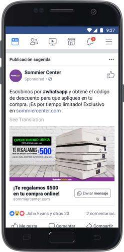 whatsapp mensaje facebook