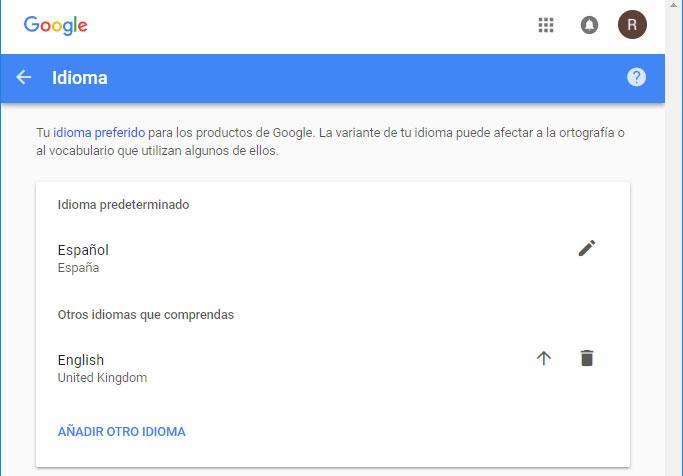 idioma de Google