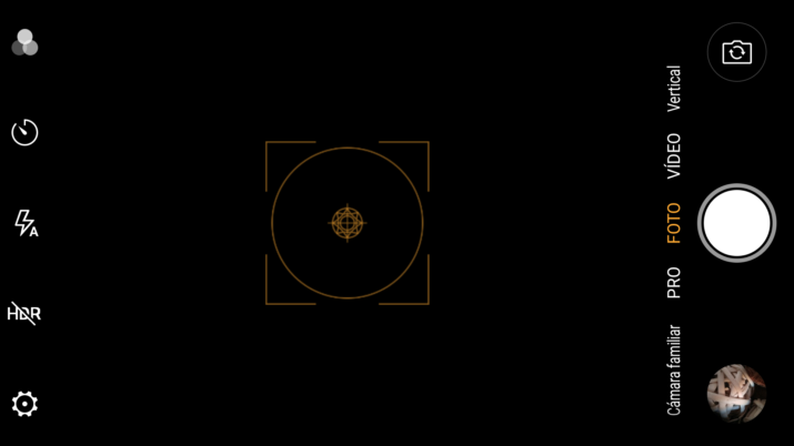 Interfaz de la aplicación de la cámara del Nubia Z17 Lite