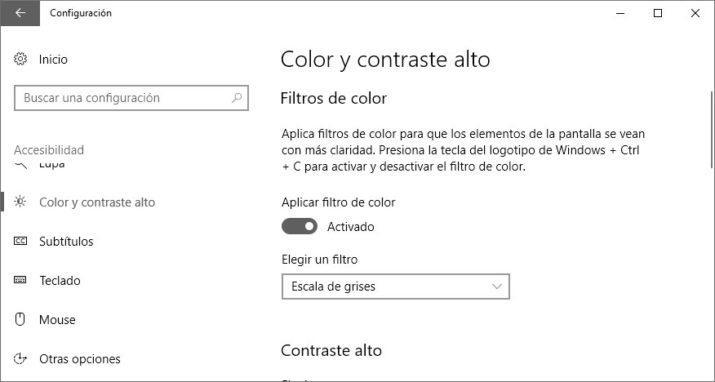 Windows 10 en blanco y negro