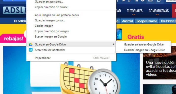 menú contextual Google Drive