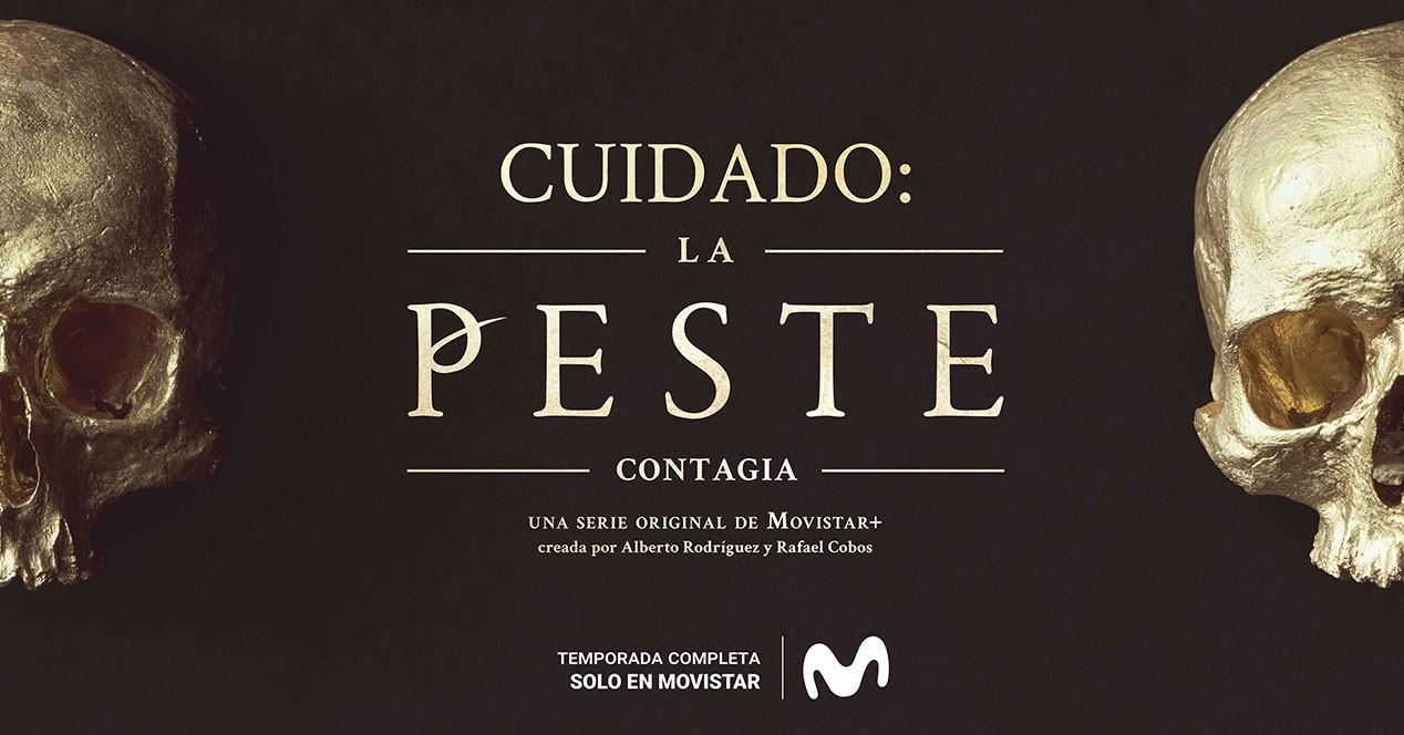 cartel de la peste con calaveras