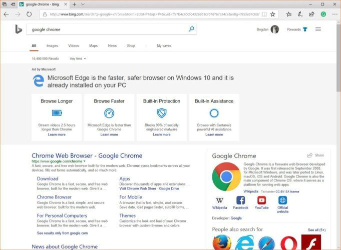 microsoft google chrome