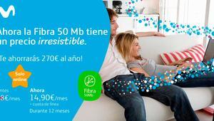 Movistar vuelve a rebajar su fibra óptica a menos de 33 euros durante 12 meses