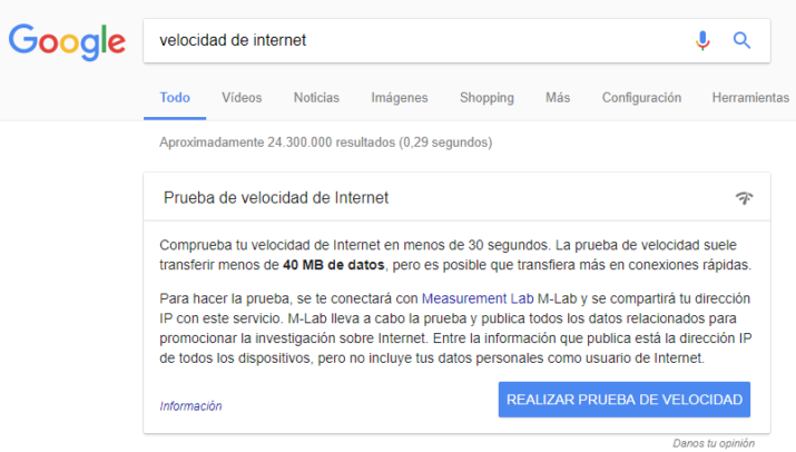 velocidad internet google