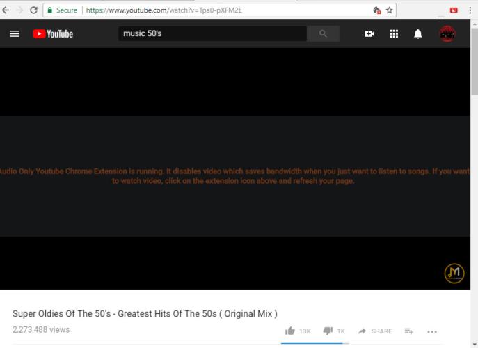 sólo el audio en los vídeos de youtube