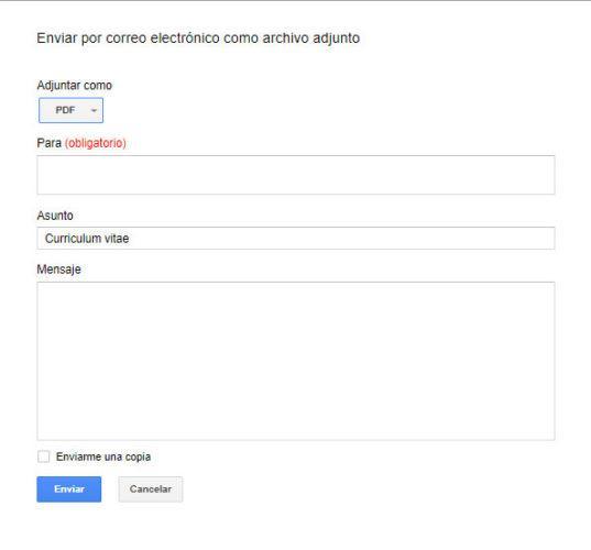 como enviar un curriculum por correo electronico ejemplo