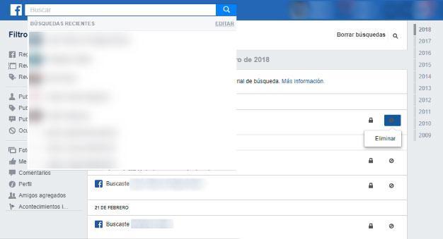 historial de búsquedas en Facebook