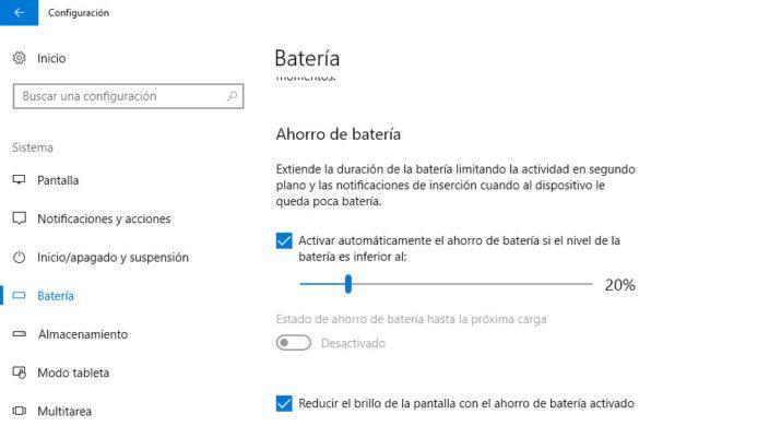 batgería en windows 10