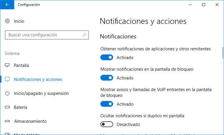 notificaciones en windows 10