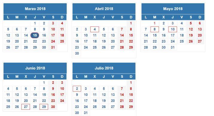 fechas renta 2017