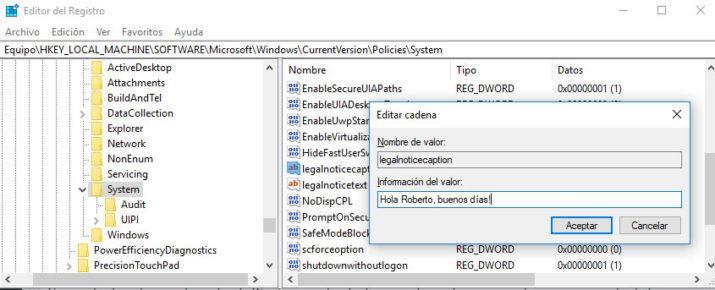 mensaje personalizado al iniciar windows 10