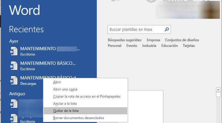 documentos recientes en Word