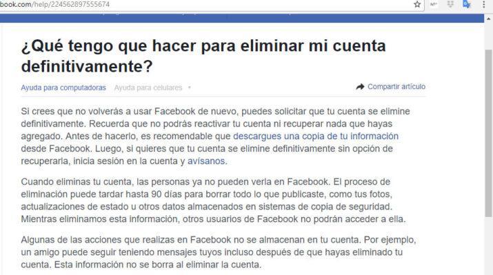 borrar una cuenta de Facebook