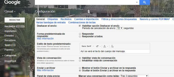 letra en Gmail