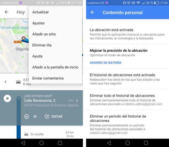 historial de ubicaciones de Google Maps