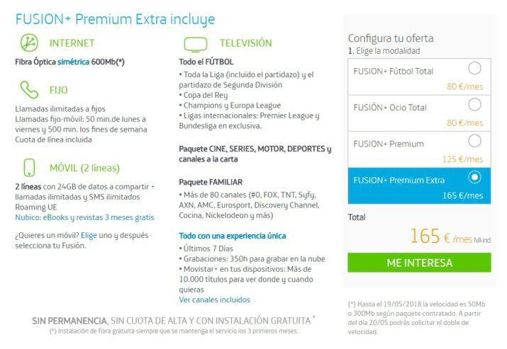 tarifas fusión premium extra
