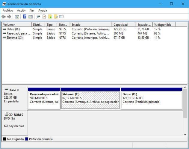 partición de instalación de Windows 10 April 2018 Update