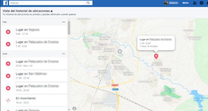 historial de ubicaciones Facebook