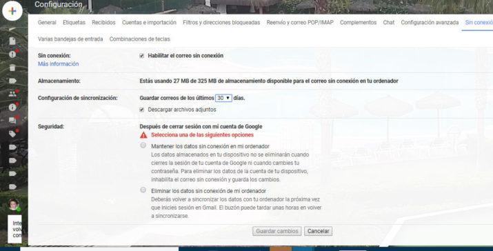 correo sin conexión en el nuevo Gmail