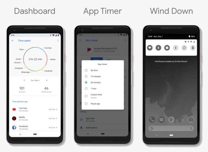 android p dashboard app timer wind down