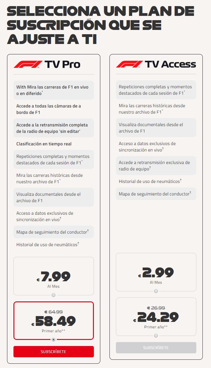 El servicio de streaming de F1 ya disponible en España, pero
