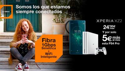 Orange ofrece por menos de 30 euros al mes un Sony Xperia XZ2 y una PS4 Pro con su fibra